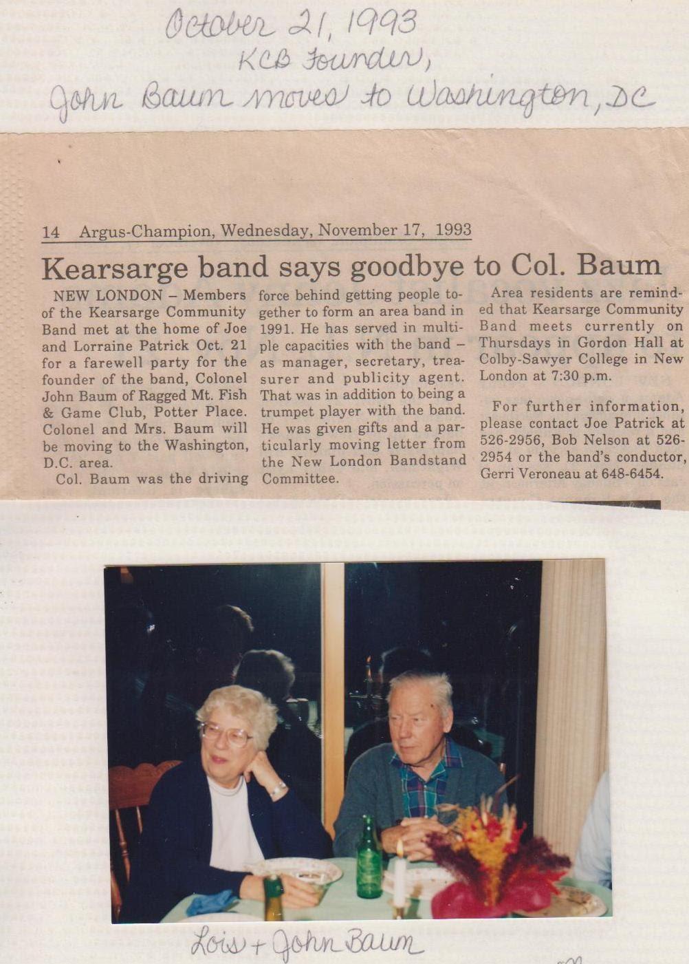 "Col. John Baum, founder of the ""modern era"" band"